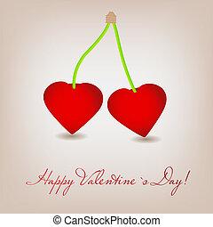 heart., körsbär, valentinkort, illustration, vektor, dag, kort, lycklig