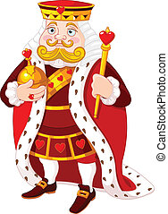Heart king - Cartoon heart king holding a golden scepter