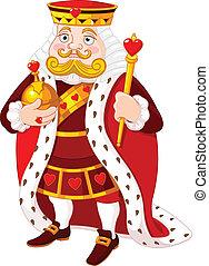 Cartoon heart king holding a golden scepter