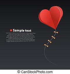 Heart kite on dark background