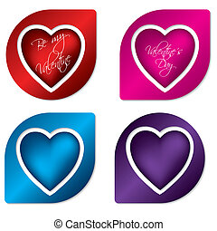 Heart label design set