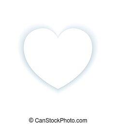 Heart label with shadow on white background