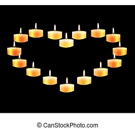 Heart laid out candles