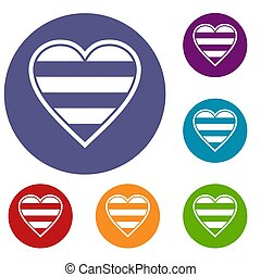 Heart LGBT icons set in flat circle reb, blue and green...