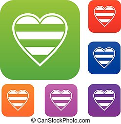 Heart LGBT set collection - Heart LGBT set icon in different...