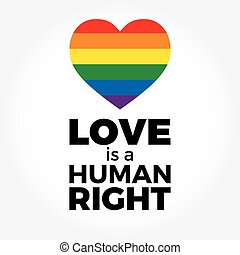 Heart, LGBT support symbol with lettering in rainbow colors....