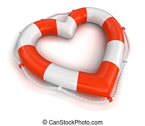 Heart Lifebuoy. Image with clipping path