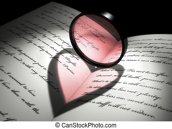 light effect of a heart shape on a book of poetries