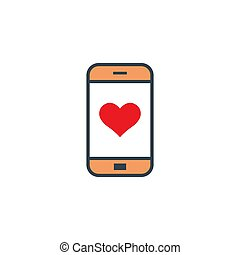 heart like red on screen smartphone icon in flat design on white background