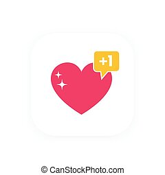heart like with notification for web design