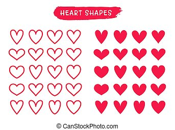 Heart line and silhouette icons isolated on white. Vector shapes.