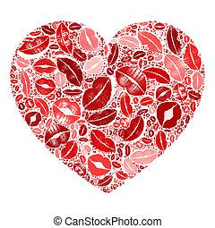 Heart Lips Red Mosaic Backgroud