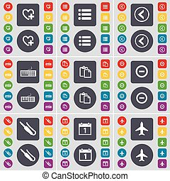 Heart, List, Arrow left, Keyboard, Survey, Minus, Microphone connector, Calendar, Airplane icon symbol. A large set of flat, colored buttons for your design. Vector