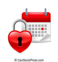 Heart lock and calendar with marked day. Valentines Day or...