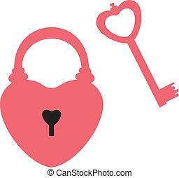 Heart lock and key - Heart-shaped lock and key to it