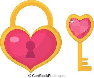 Heart lock and  key icon, flat design. Valentines Day, love, dating, wedding concept. Isolated on white background. Vector illustration, clip art.
