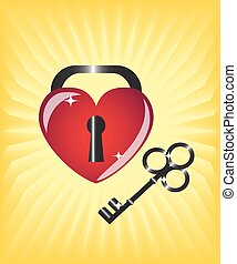 heart-lock and key
