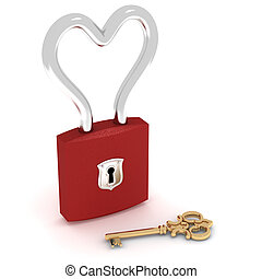 Heart lock - Closed heart padlock with golden key