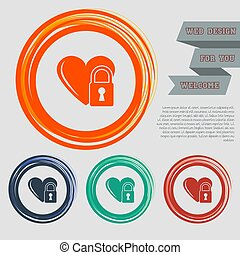 heart lock icon on the red, blue, green, orange buttons for your website and design with space text. Vector