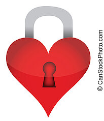 heart lock illustration design