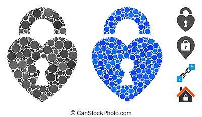 Heart Lock Mosaic Icon of Spheric Items - Heart lock ...
