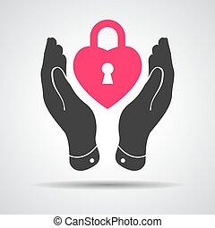 heart lock shape icon in careful hands - vector illustration