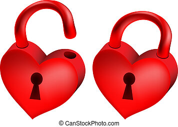 heart-lock - Vector illustration of two red locks in form of...