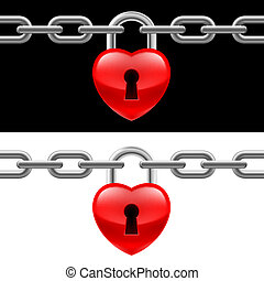 Heart lock with chain on white and black backgrounds