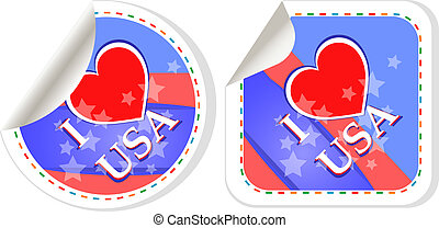 Heart logo I love USA stickers label set