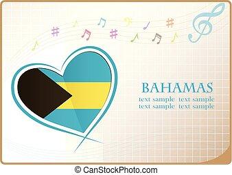 heart logo made from the flag of Bahamas