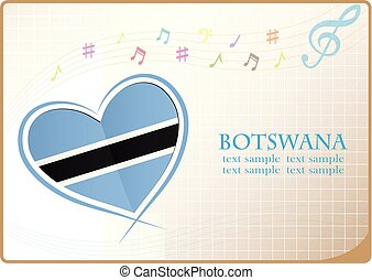 heart logo made from the flag of Botswana