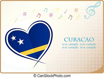 heart logo made from the flag of Curacao