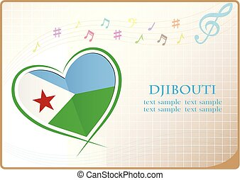 heart logo made from the flag of Djibouti