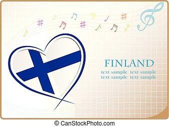 heart logo made from the flag of Finland