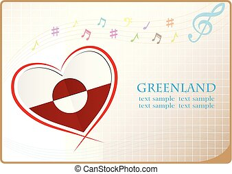 heart logo made from the flag of Greenland