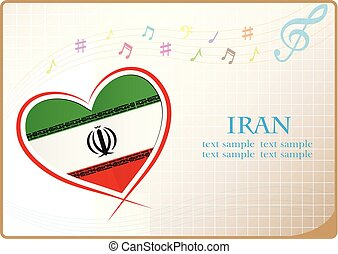 heart logo made from the flag of Iran