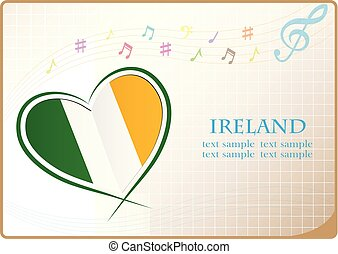 heart logo made from the flag of Ireland