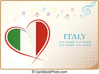 heart logo made from the flag of Italy