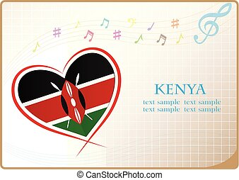 heart logo made from the flag of Kenya