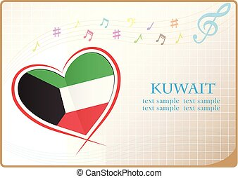 heart logo made from the flag of Kuwait