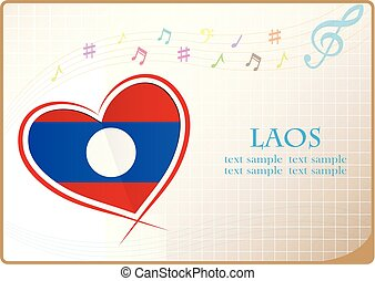 heart logo made from the flag of Laos