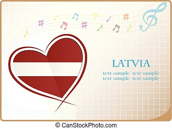 heart logo made from the flag of Latvia