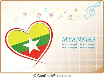 heart logo made from the flag of Myanmar