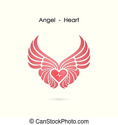 Heart logo with angel wings logo design template