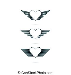 Heart logo with angel wings on background. Vector illustration.