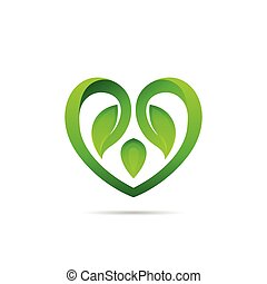 heart logo with leaf concept