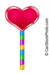 Heart lollipop icon