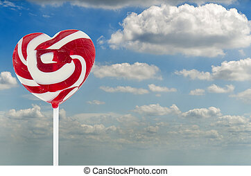 heart lollipop with sky background