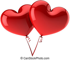 Two Hearts balloons couple total red. Love is in the air abstract. Wedding romantic decoration. Valentines day symbol. This is a detailed three-dimensional render 3d (Hi-Res). Isolated on white background