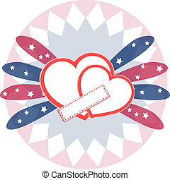 Heart love card, valentine day abstract background, vector